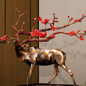 Home decoration metal life size brass deer statue
