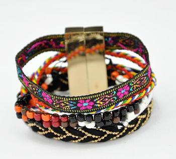 Ethnic Wood Beaded Bracelet Boho Wrap