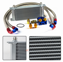 wholesale universal racing car row 16 motorcycle oil cooler kit silver