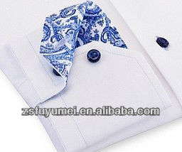 Men's dress shirt contrast colour with paisley pattern men long sleeve shirt embroidery design