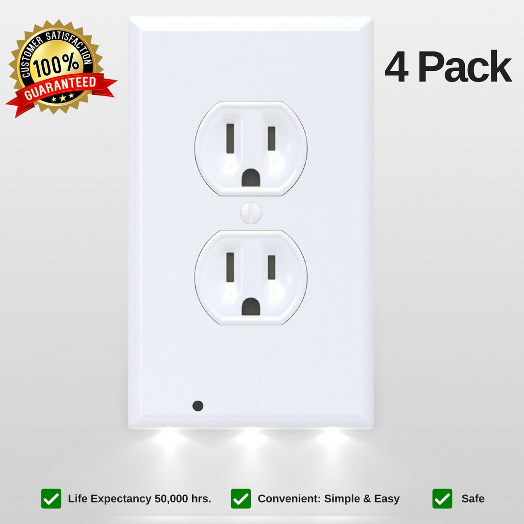 LED Night Light Wall Outlet Duplex Cover Outlet Covers With LED Lights Outlet Covers Wall Plate Electrical Outlet Wall Plate Frame Outlet Cover Power Outlet Wall Plates Outlet Covers White (4 Pack)