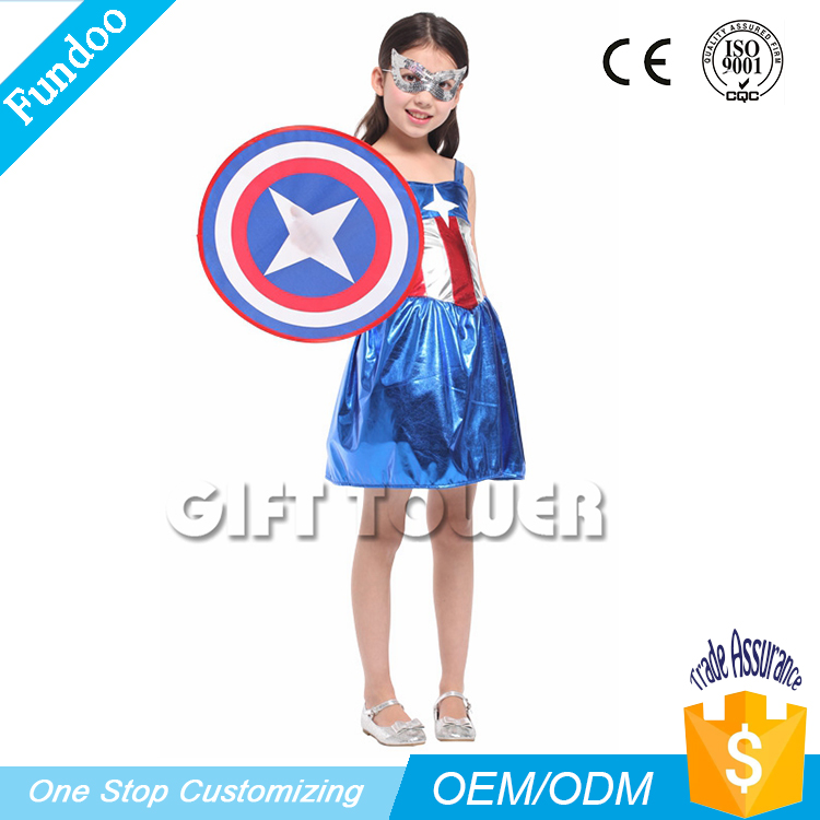 Commercio all'ingrosso Film & TV DC Comics Eroe Capitan America Ragazze Costume
