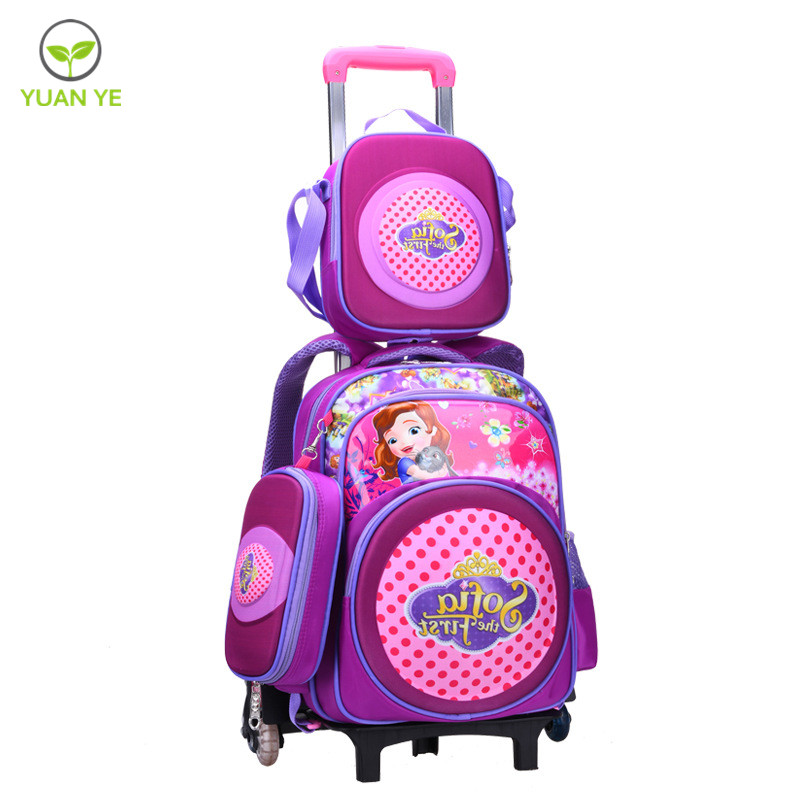 Girls OEM Kids Bag School Trolley Bag School Girl with Wheels Bag Set