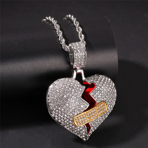 Wholesale Gold Silver Plated Heart Broken Bandage Necklace Pendant Iced Out Full Rhinestone HipHop Jewelry