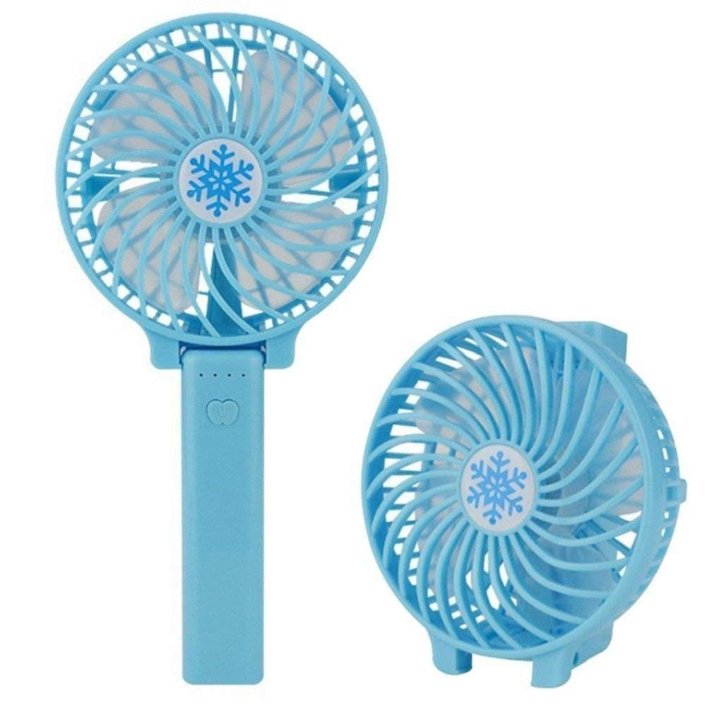 RALMALL Handheld Electric Fans, Mini Portable Handheld Fan, Foldable Desktop Fans, Rechargeable Electric Personal Fans with Rechargeable 1200 mAh Battery for Home,Office and Travel (Blue)