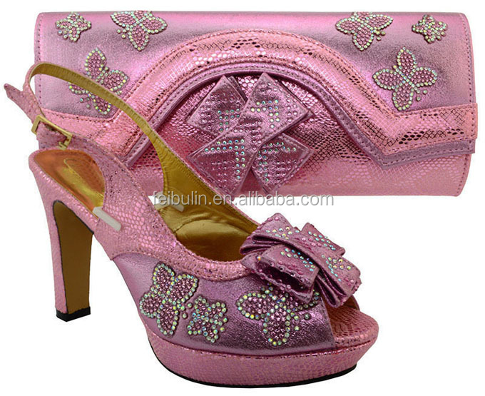 Elegant butterfly and stones Italian Shoes With Matching Bag High Quality, lady 11.5cm high <strong>heels</strong> for wedding party,MM1031 Pink