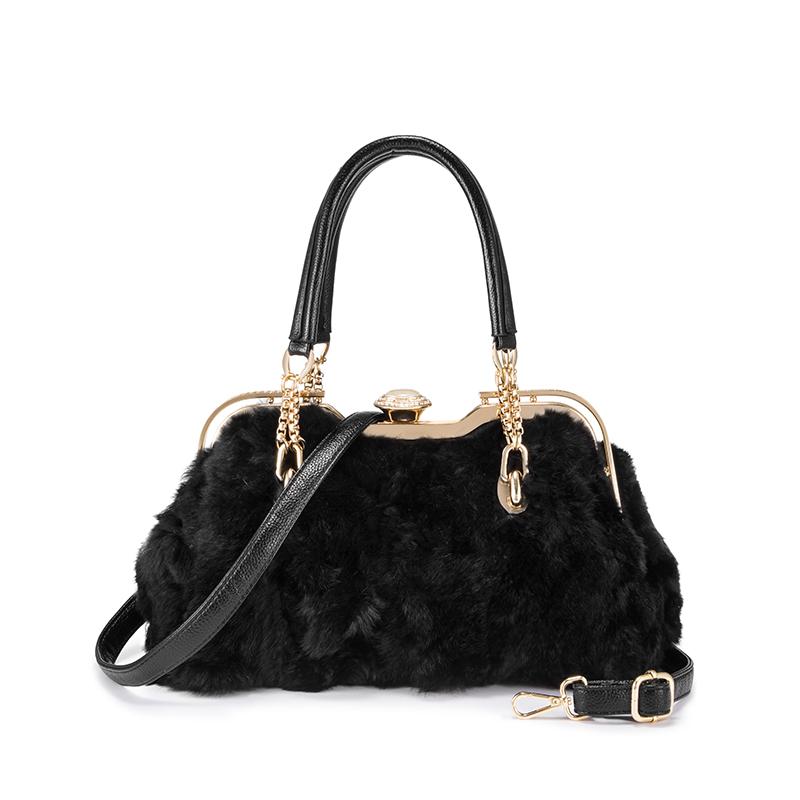 REALER женские сумки из натурального кроличьего меха, Женская Роскошная сумка с верхней ручкой, сумки через плечо для дам, высококачественные ...(Китай)