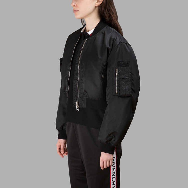 Women'S Black Cropped Bomber Private Label Made In China Wholesale Nylon Bomberjacket