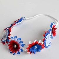 Fashion United States Flag Color Elastic Flower Headband With Rhinestone