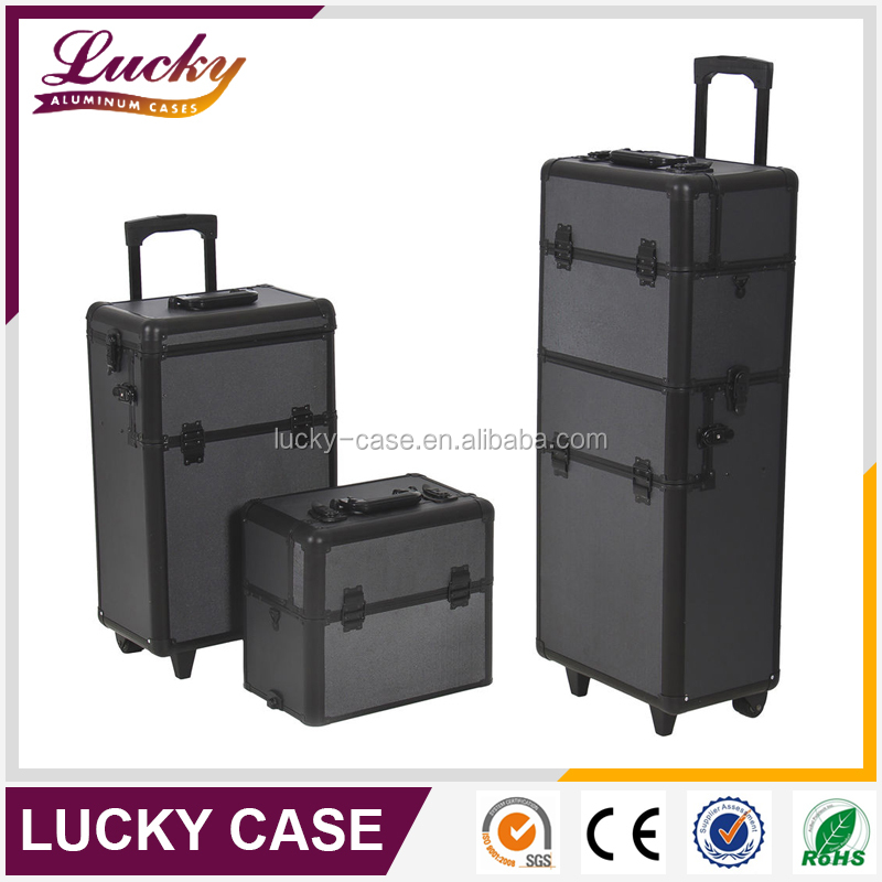 Professional soft side aluminum metal makeup case
