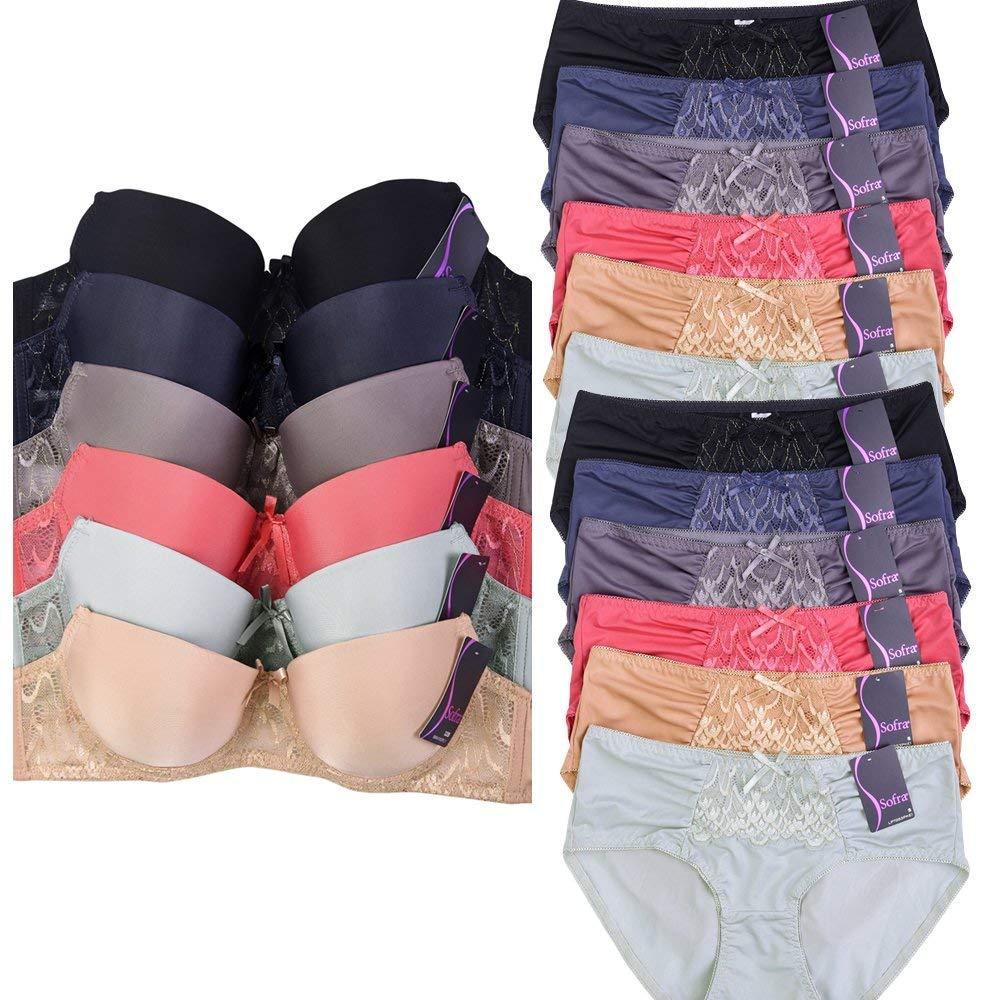 f42d480328635 Get Quotations · Uni Style Apparel Womens Plain and Lace 6 Bras 12 Panties  Set (Total 18 Pieces