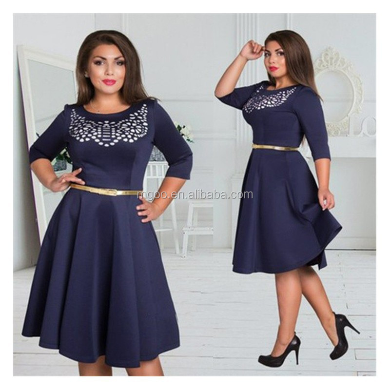 2016 Wholesale Women Plus Size 6XL Dress 2016 Clothing Stock A Line Crystal Beaded Dresses