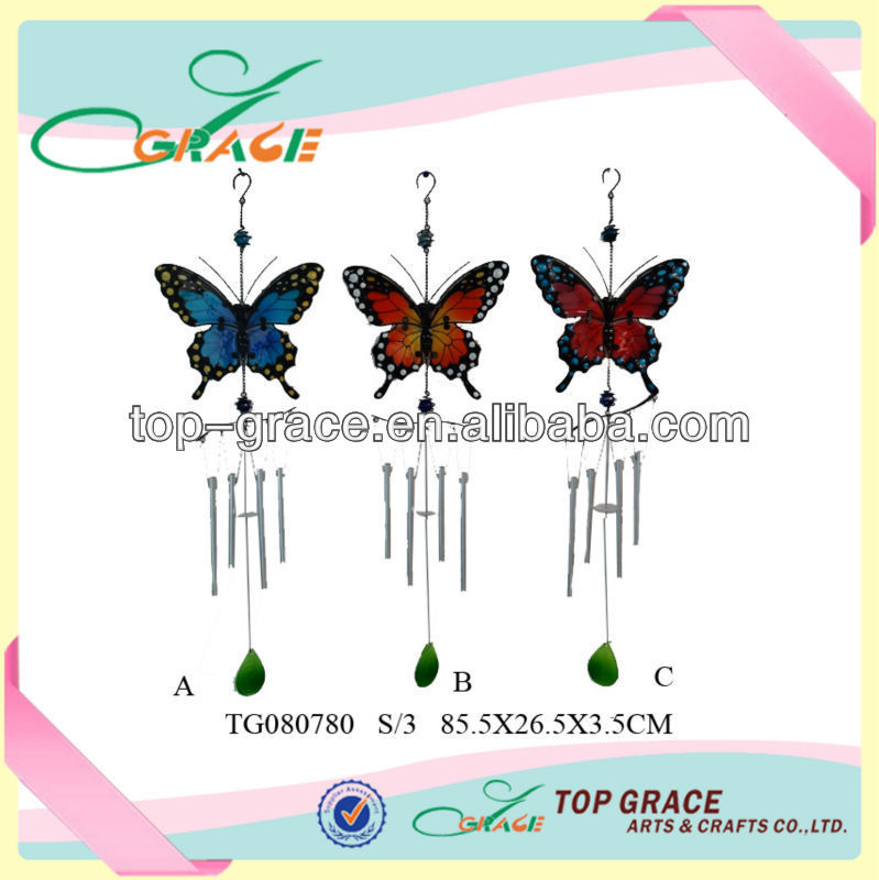 Garden Ornament Hanging Stain Glass Butterfly Metal Wind Chime