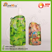 best selling products 2016 in usa 500ml plastic foldable water bottle outdoor water bottle with carabiner