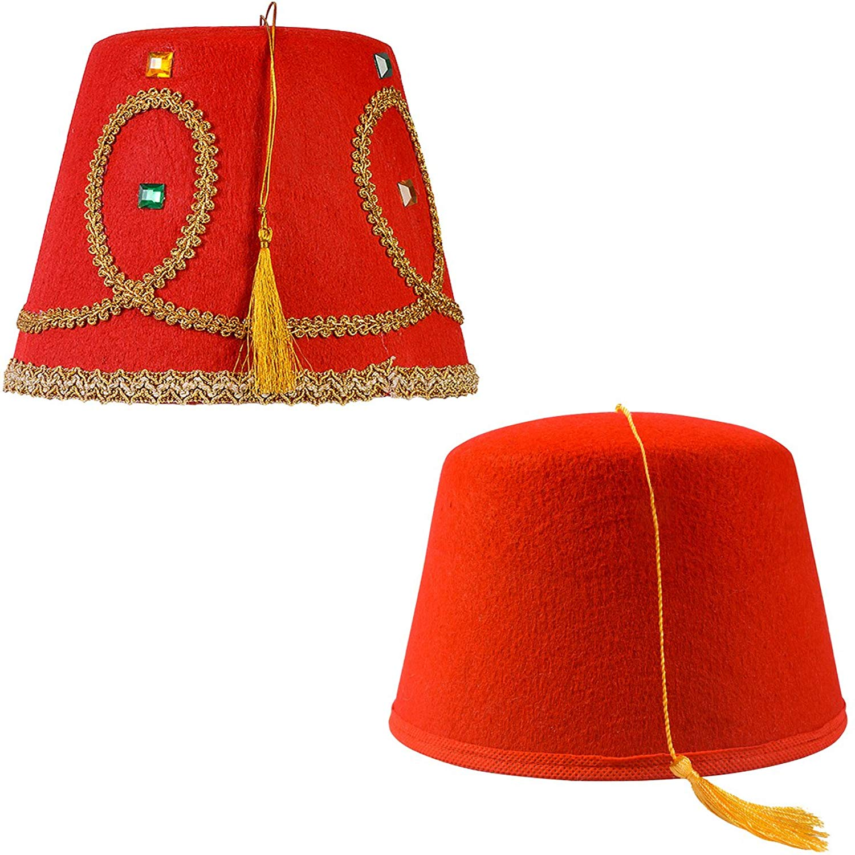 Tigerdoe Fez Hat – 2 Pack - Red Fez Hat with Gold Tassel - Turkish Hat e43781e76e68