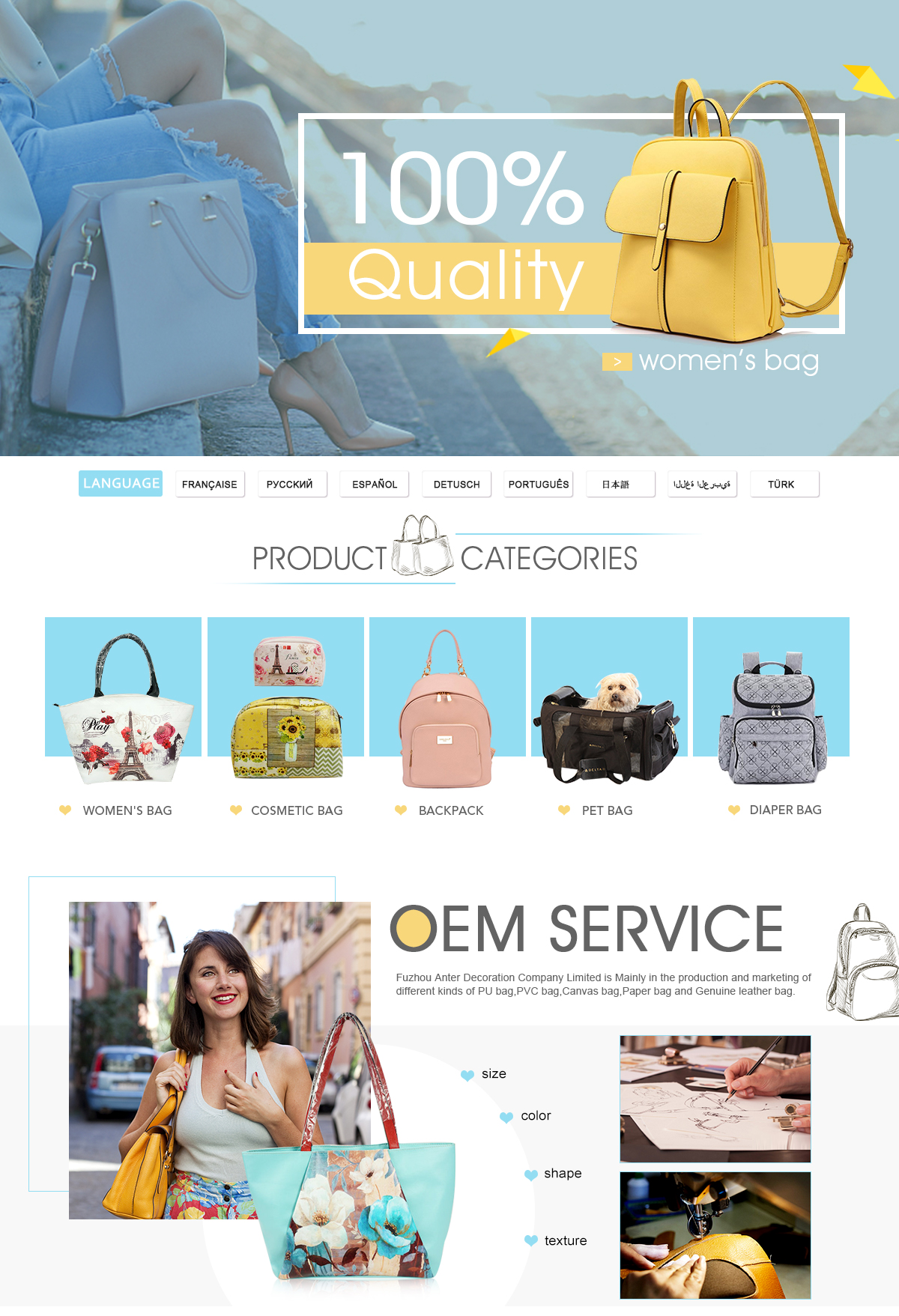 d2a38c0722ef1d Fuzhou Anter Decoration Co., Limited - Bags
