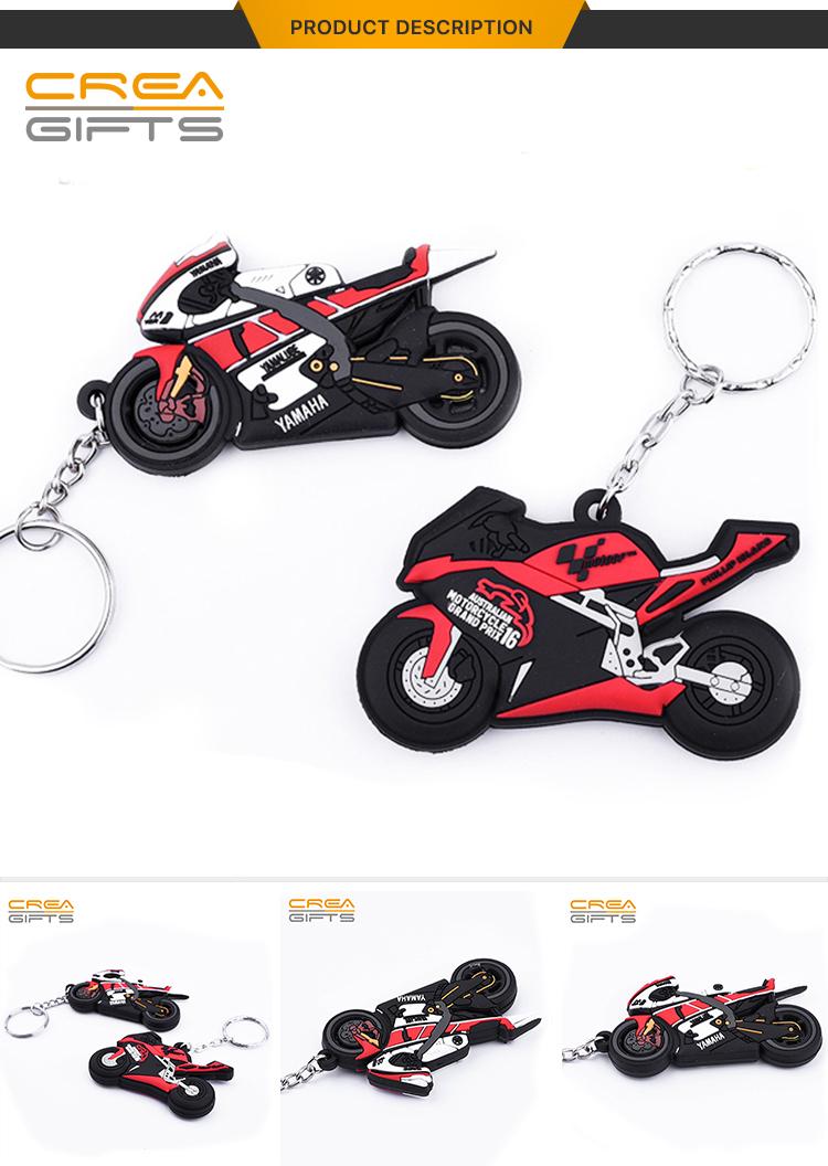 Wholesale Custom 3D Soft PVC Keychains Silicone Key Chain Custom Rubber Motorcycle Keychain