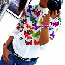 Ms 2016 new spring and summer wild white printed long sleeved Free shipping