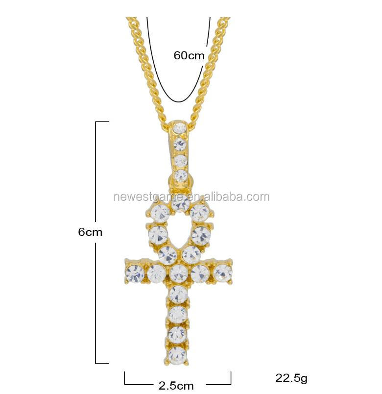 Bling Iced Out Egyptian Ankh Key Pendant Necklace Gold Plated Rhinestones Crystal Cuban Link Chain Men Jewelry Necklaces