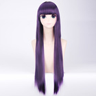 80cm Synthetic Long Straight Dark Purple Cosplay Japanese Maid Wigs