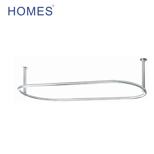 Traditional 1500 x 700mm Chrome Oval Shower Curtain Rail (Diameter of tube 30mm)