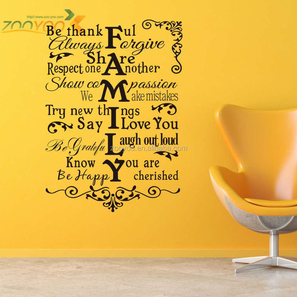 Zooyoo China Wholesale Wall Art Quotes Interior 3d Wallpaper - Buy ...
