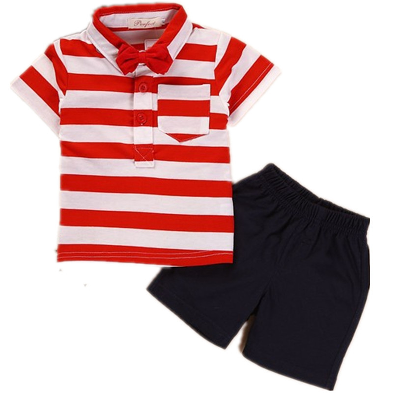 2015 New Kids Boy Clothes Sets Baby Boy Summer Clothing Set T Shirt+shorts Children Striped Toddler Boy Clothes