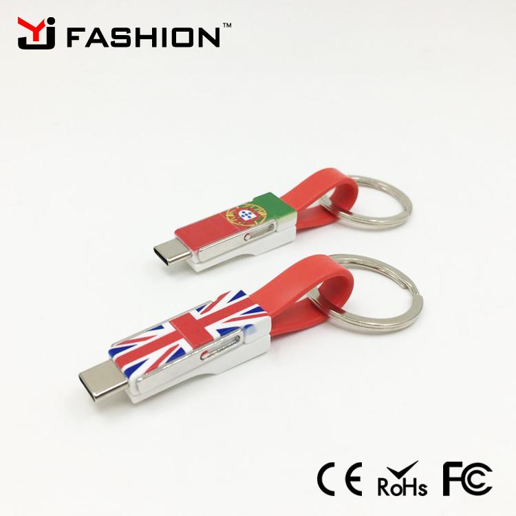 Import mobiele telefoon accessoire 3 In 1 Sleutelhanger USB Kabel Voor iphone Verlichting Kabel voor IOS voor Android voor type c quick lading