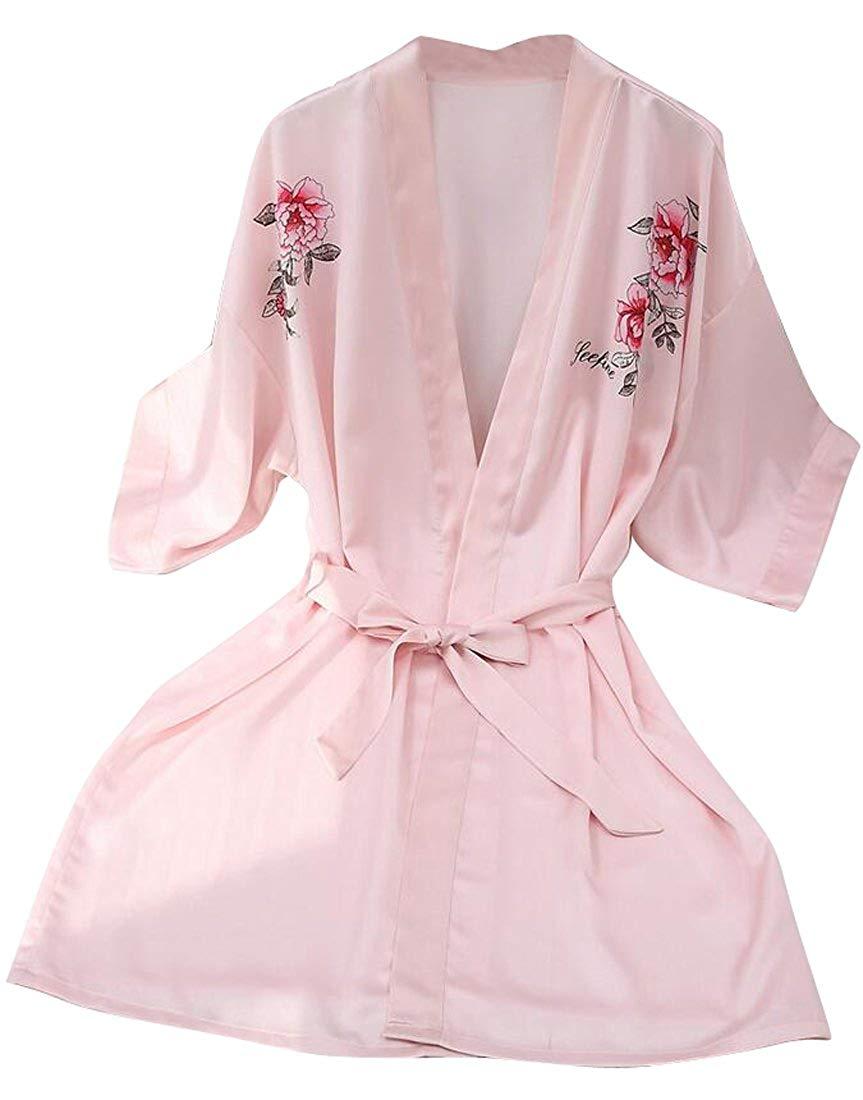 0c5b602f2f Get Quotations · SYTX Womens Floral Print Half Sleeve Kimono Robes Bathrobe  Nightgowns