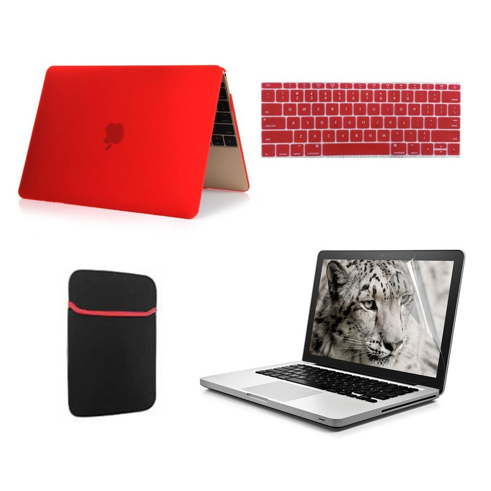 [Macbook Case] GigaMax(TM) 2015 New Arrival MacBook Case 4 in 1 Bundles - Frosted Matte Rubber Coated Hard Shell Skin Case Cover + Silicone Keyboard Skin Protector + Clear Screen Protectorfor + Soft Sleeve Bag for Macbook 12 inches, Red