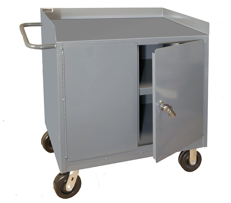 Durham 16 Gauge Welded Steel Mobile Bench Cabinet, 3100-95, 1 Fixed Shelf