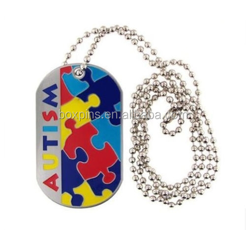 AUTISM Alert Medical Stainless Steel Dog Tag Emergency Jewelry Necklace