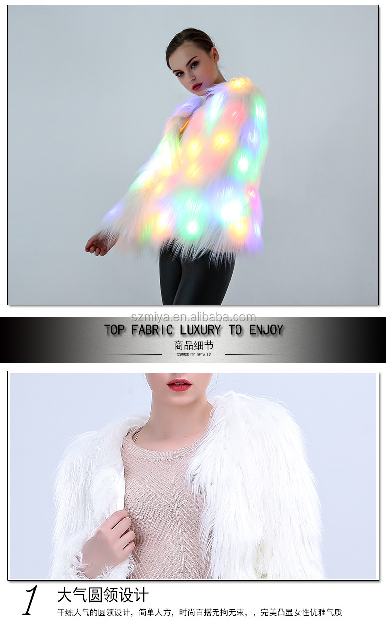 New LED shining halloween cosplay costume party long mogolian faux fur coat for Christmas