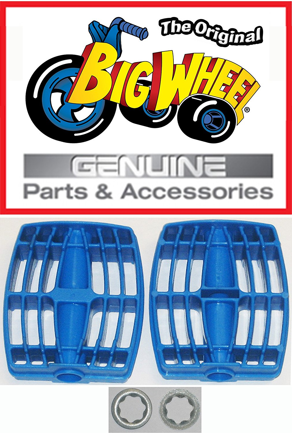 """PEDALS & WASHERS for The Original """"Classic"""" Big Wheel 16"""", Replacement Parts, Set of 2 Pedals & Washers 3/8"""", Blue, 1 pair of each"""