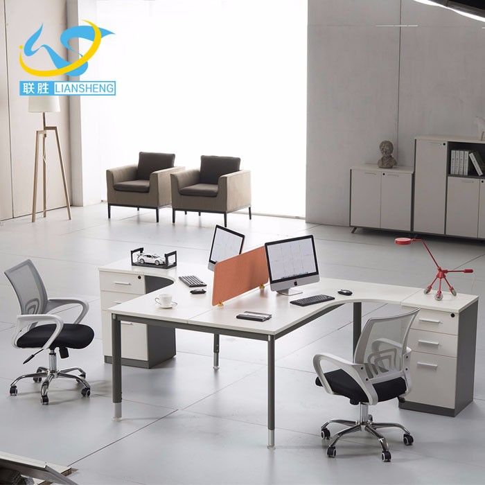 Newest Coming Commercial Furniture L Shape 2 Person Workstation