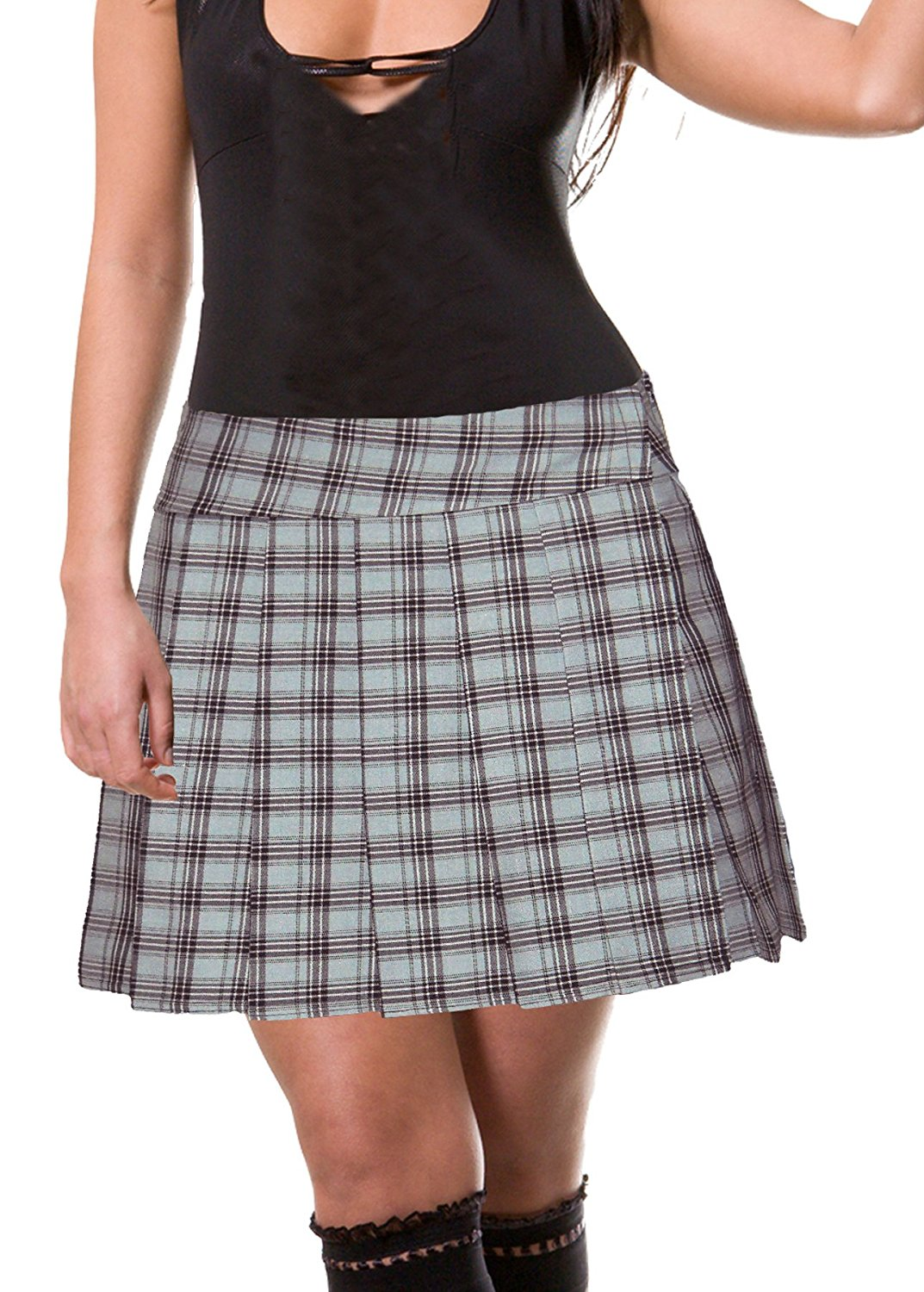 acd9c41dd8aab Get Quotations · Light Gray Plus Size Schoolgirl Tartan Plaid Pleated Skirt  Gawler Plus Long