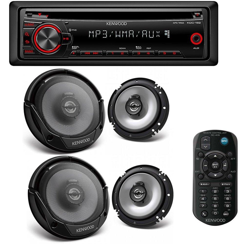 "Kenwood KDC-152 Single-Din Car Stereo and (2) Kenwood KFC-1665S 60W 6.5"" 2-Way Sport Series Flush Mount Coaxial Speakers w/ Paper Tweeters"