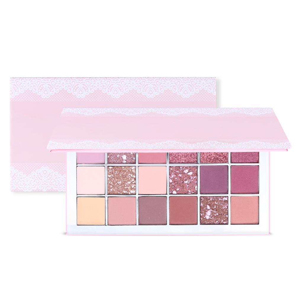 New Arrival Makefay Custom Long Lasting Waterproof 18 Color Pink Cardboard Makeup Eyeshadow Palette, 18 colors
