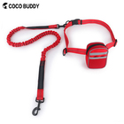 Eco-Friendly Pet Dog Hands Free Running Bungee Pet Leash with Pouch Wholesale Adjustable Custom Dog Leads with Dog Bags