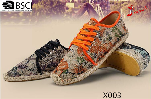 2017 women men unise breathable printed canvas fabric espadrilles leisure shoes