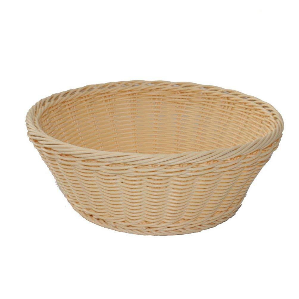 HOBULL Food Serving Baskets Round Woven Bread Roll Baskets Fruit Vegetable Dessert Bowl Storage Baskets