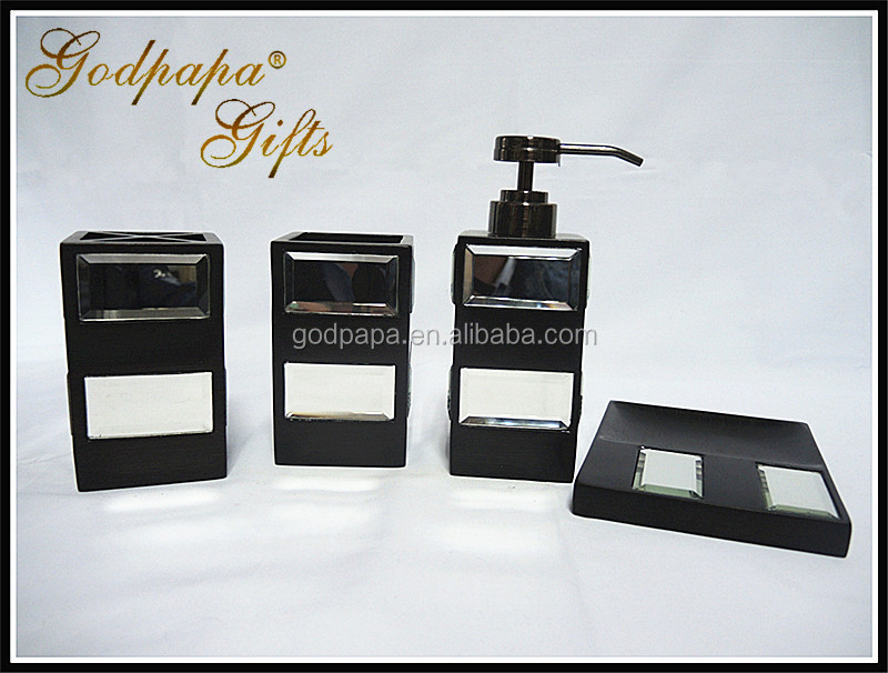 Complete luxury bath vanity accessory set supplier,mirror glass bathroom sets