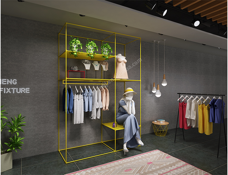 Tall rack .clothing store display fixtures. country style HB02G09