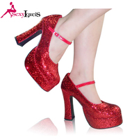 Platform strap chunky heel round toe shoes glitter women party shoes