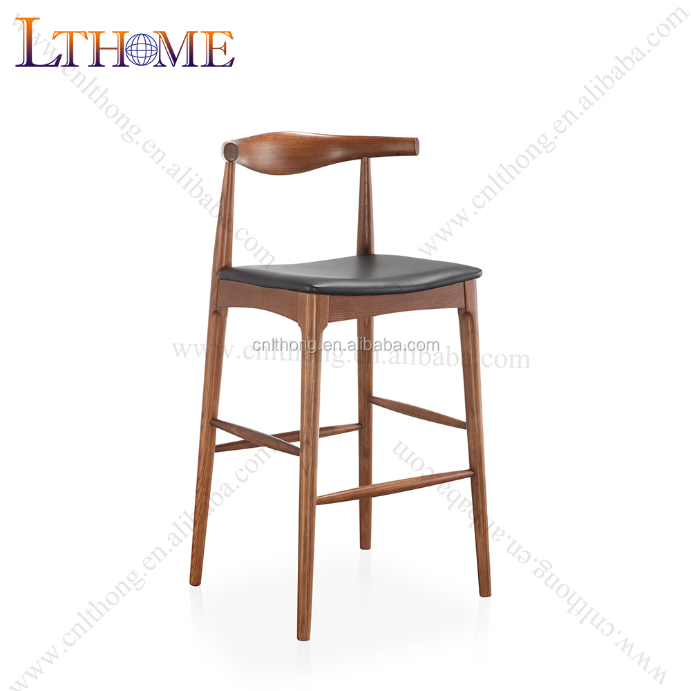 B507 Solid wood bar stool with armrest