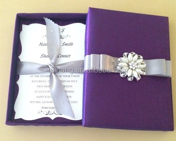 2018 Simple Purple Bengali Handmade Wedding Invitation Card With Diffe Color Ribbon Cards