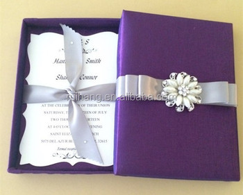 2018 simple purple bengali handmade wedding invitation card with 2018 simple purple bengali handmade wedding invitation card with different color ribbon stopboris Gallery
