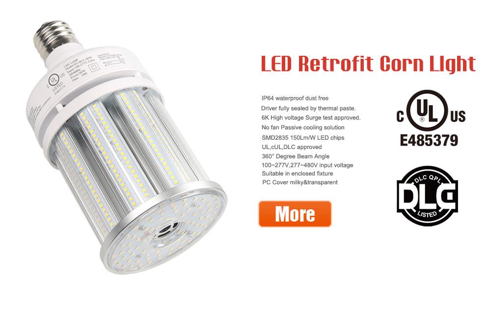 DLC E39 LED Corn Bulb 100W Replacement 400W MH Street Parking Lot Light 5000K