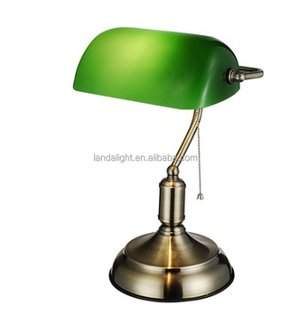 Vintage Style Banker Table Lamp With Green Glass Lampshade