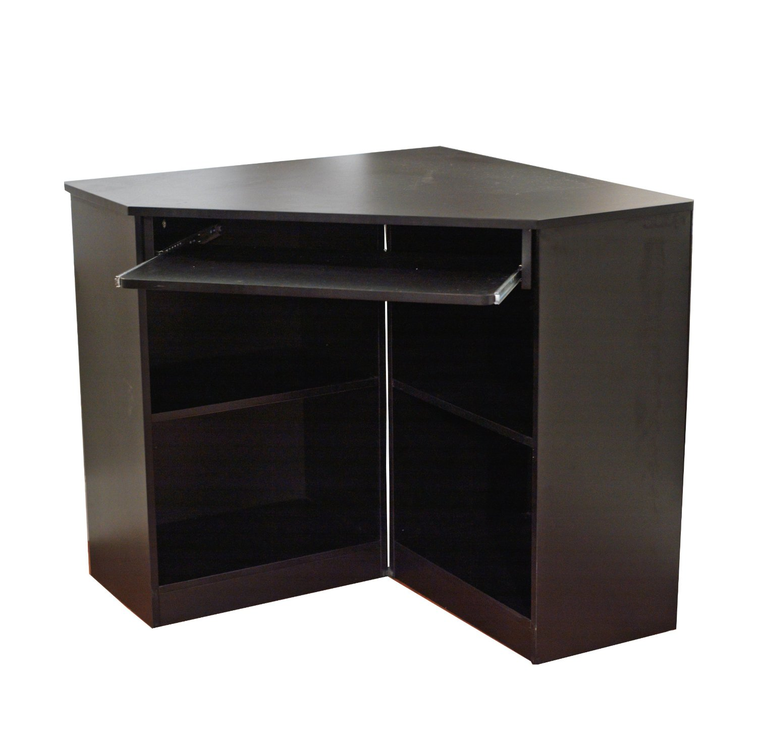 Target Marketing Systems Oxford Collection Modern Corner Computer Desk With 4 Shelves and Keyboard Space, Black